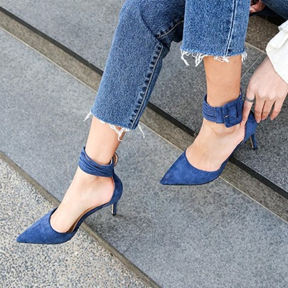 Pointed Toe Ankle Wrap Women's Blue Heels Prom Shoes