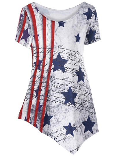 Asymmetric Hem Women's T-Shirt For Independence Day
