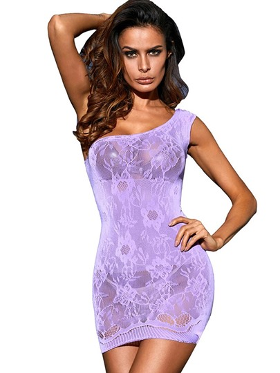 Sexy Single Shoulder Oblique Sollar See-Through Chemise