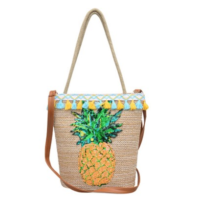 Summer pineapple Pattern Knitted Shoulder Bag