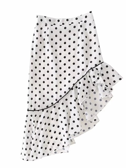Polka Dots Ruffle Women's Skirts