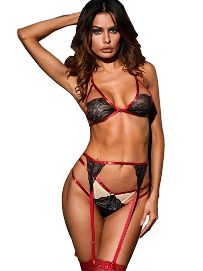 Sexy Lingerie Hollow Three-PointPattern Rope Suits Bra Set