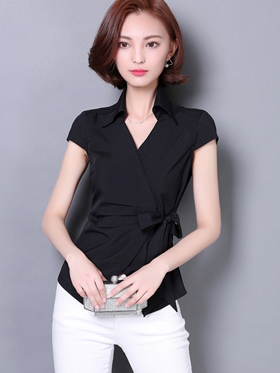 Elegant Wrap Short Sleeve Slim Fit Women's Blouse
