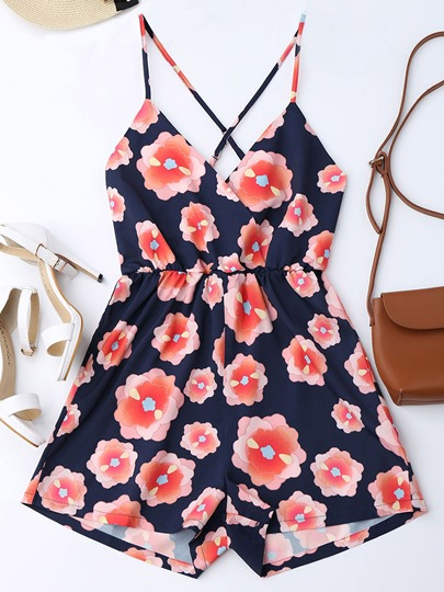 Floral Print Short Cami Women's Rompers