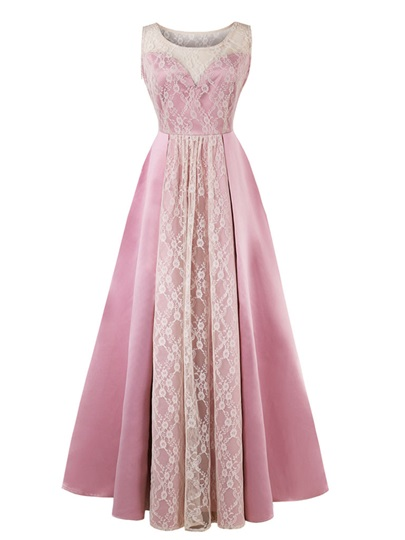 Scoop Neck Lace Pink Prom Dress