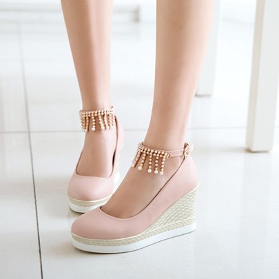 Beads Fringe Buckle Wedge Heel Shoes for Women