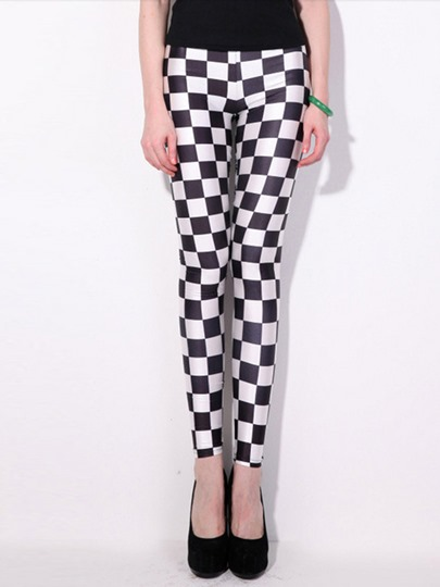 Houndstooth Printed Mid-Waist Women's Leggings