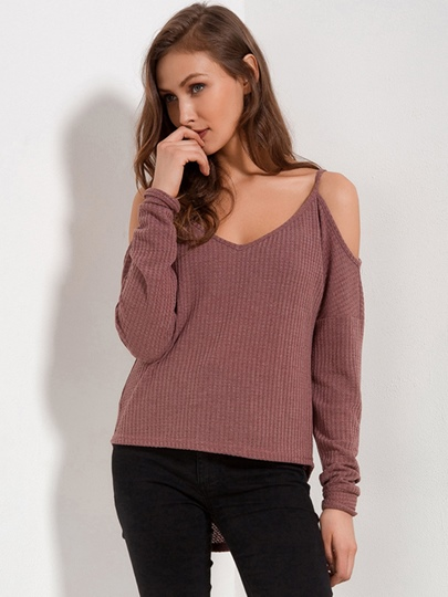 Asymmetric V-Neck Women's Pullover Knitwear