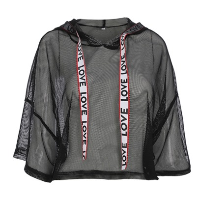 Sheer Hooded Crop Top Women's Sweatshirt