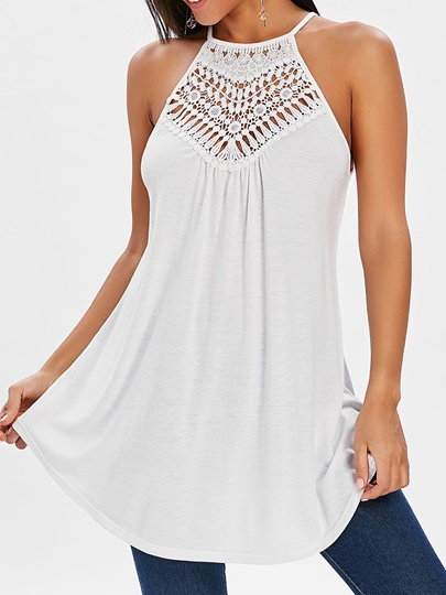 Flowy Pleated Solid Color Tunic Tank Top