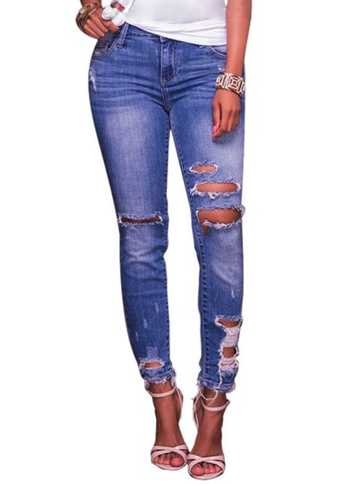 Hole Denim High Waisted Women's Jeans