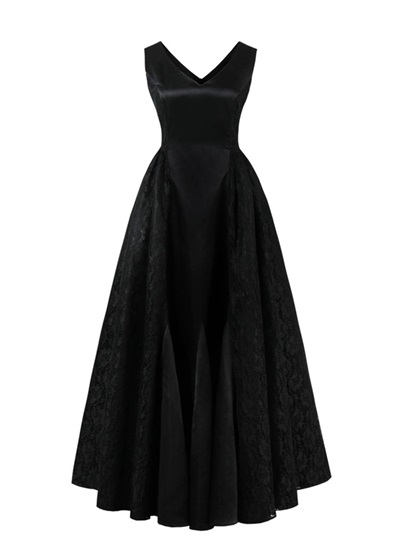 V Neck Zipper-Up Lace A Line Prom Dress