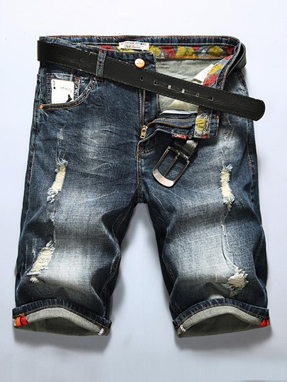 Hole Straight Men's Short Jeans