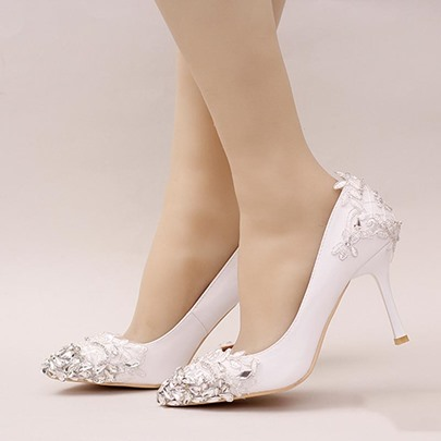 Designer Shoes for Wedding Rhinestone Lace White Prom Shoes