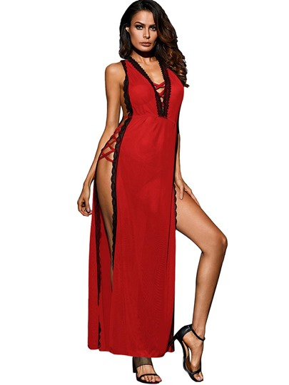 Sexy Lingerie Deep V-Neck Slit Up Long Night Dress with Panty