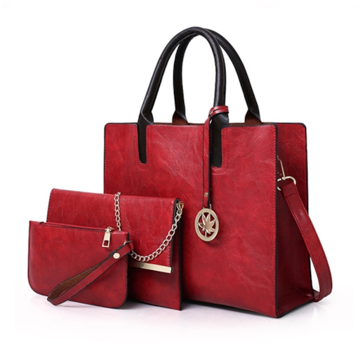 Contracted Plain Solid Color Women Bag set
