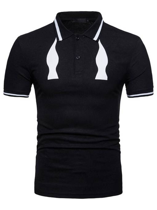 Lapel White and Black Slim Men's Polo