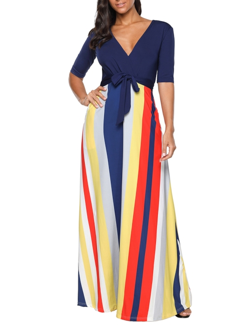 Half Sleeve Stripes Women's Maxi Dress