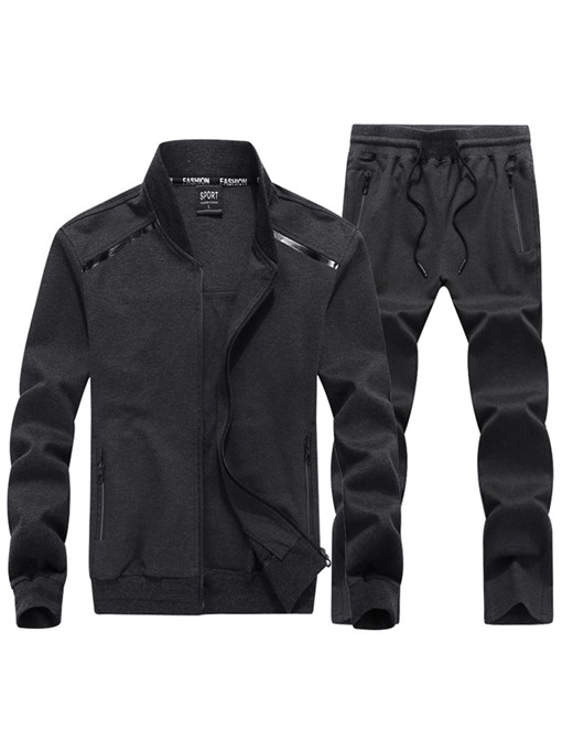 Stand Collar Solid Color Men's Sports Suit