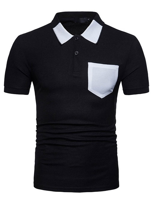 Lapel Slim Color Block Men's Polo