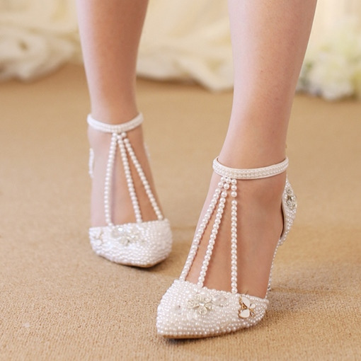 Appliques Floral Shoes Beads Wedding Shoes