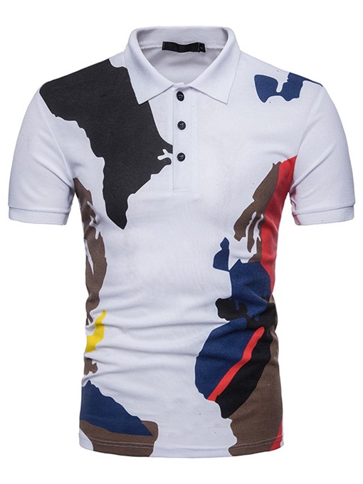 Lapel Color Block Slim Plain Men's Polo