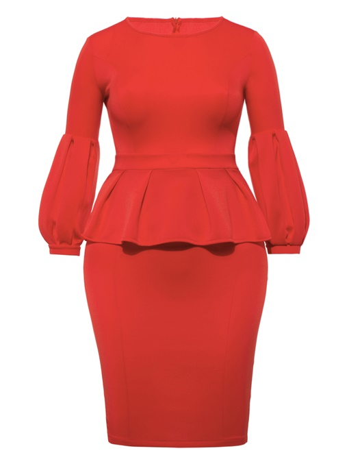 Orange Lantern Sleeve Women's Bodycon Dress