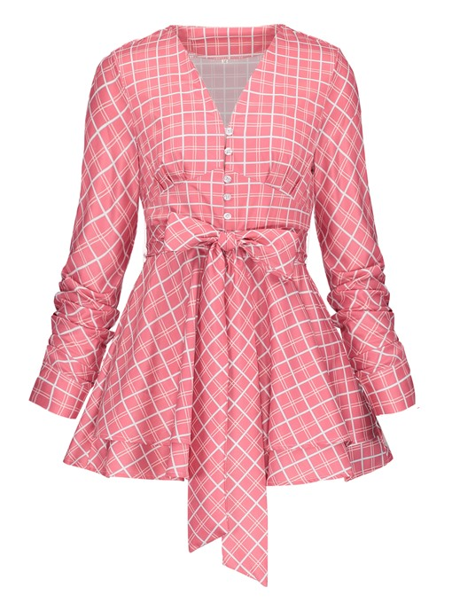 Single-Breasted Bow Knot Plaid Women's Blouse