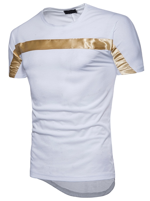 Plain Stripe Cotton Slim Fit Men's T-Shirt