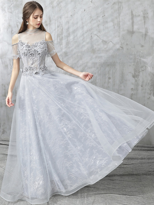 A-Line Appliques Lace High Neck Evening Dress