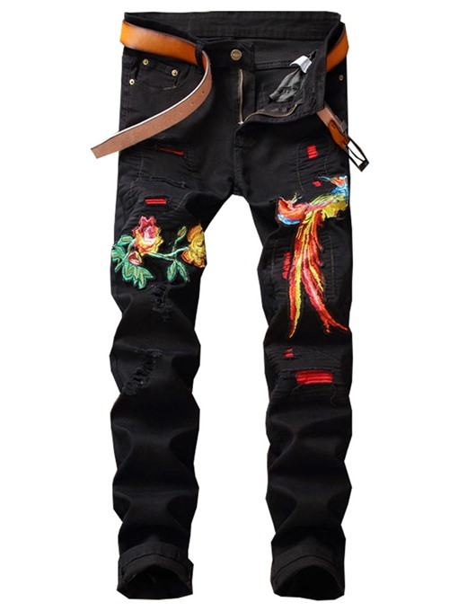 Embroidery Straight Slim Men's Jeans