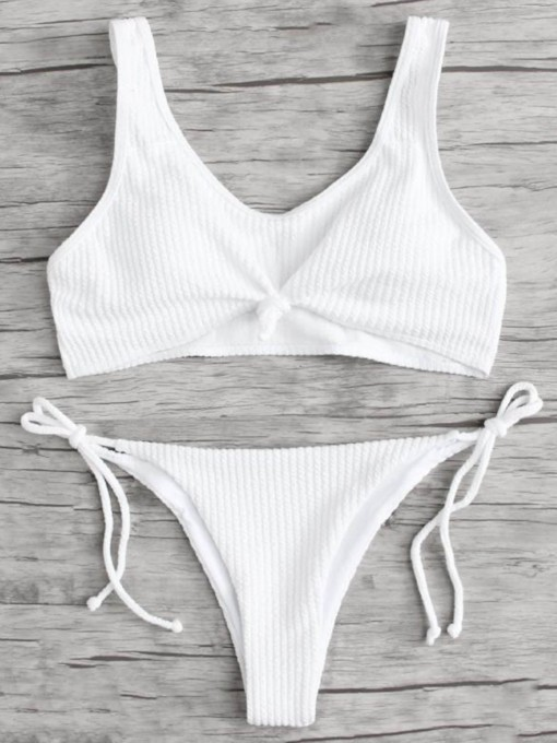 Adjustable Strap Knot Side Tie Women's Bikini Set