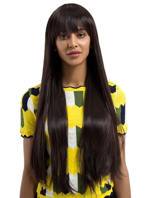 Super Long Straight Woman Synthetic Hair Capless 30 Inches