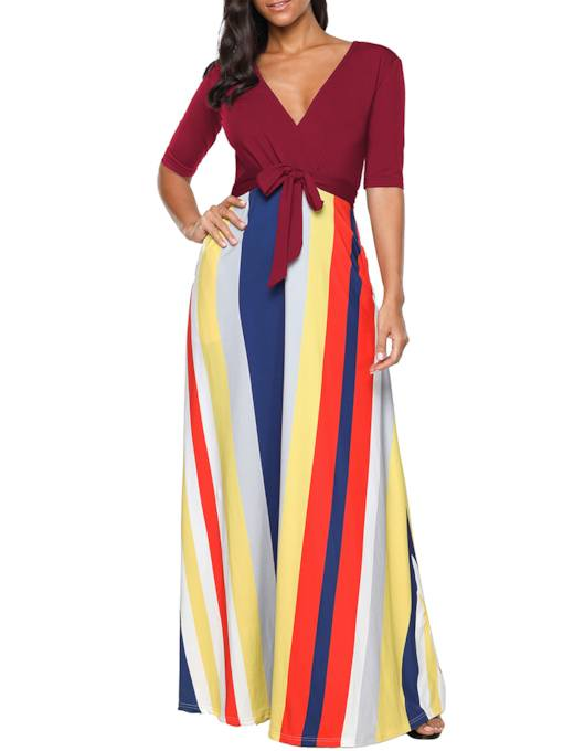 Half Sleeve Striped V Neck Women's Maxi Dress