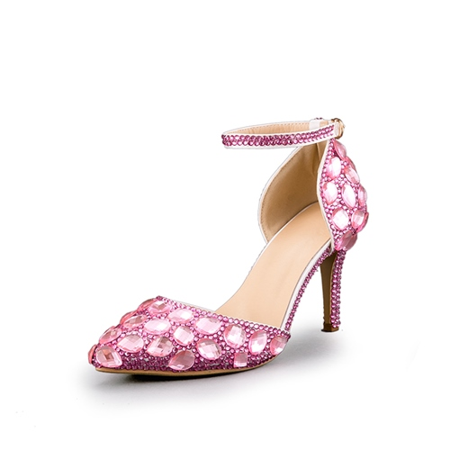 Pink Heels Rhinestone Wedding Shoes for Bridal
