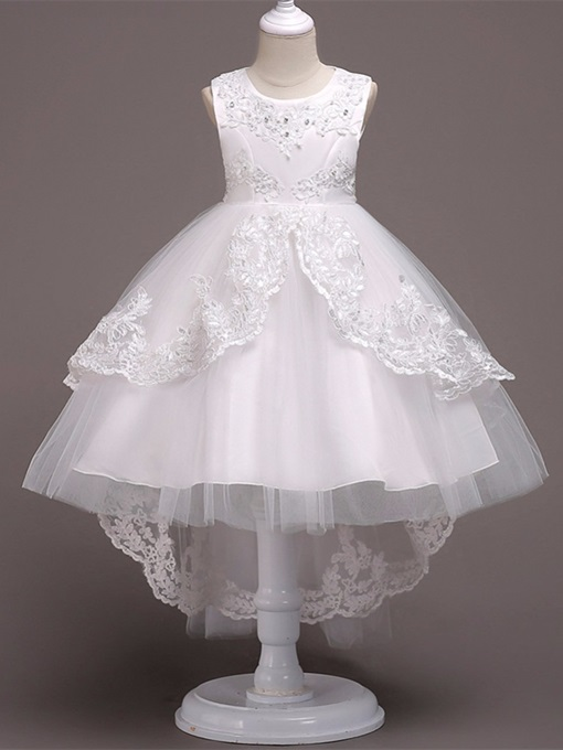 Appliques Sweep Train White Flower Girl Dress