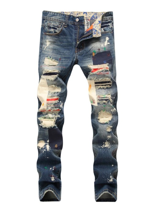 Hole Color Block Straight Slim Men's Jeans