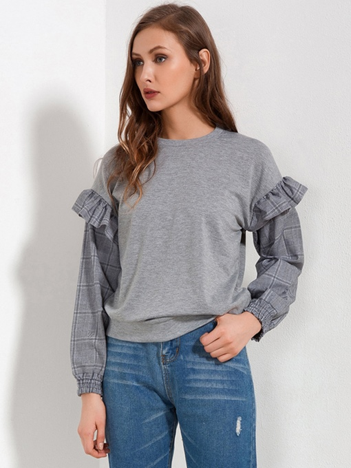 Plain Loose Patchwork Frill Women's Sweatshirt