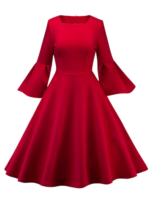 Christmas Square Neck Bell Sleeve Women's Day Dress