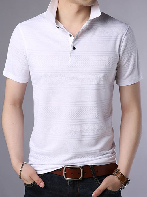 Lapel Stripe Solid Color Men's Polo T-Shirt