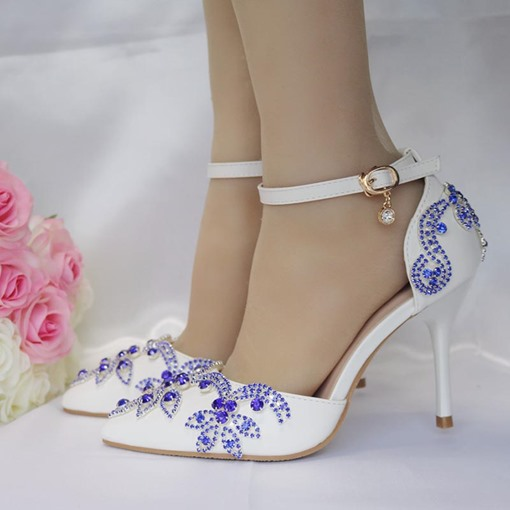 Blue Rhinestone White Wedding Shoes for Bride