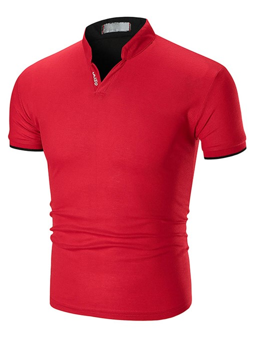 Stand Collar Plain Slim Men's T-Shirt