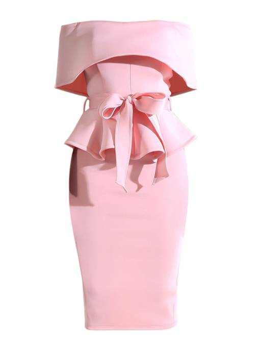 Pink Off Shoulder Back Zip High Waist Women's Sheath Dress
