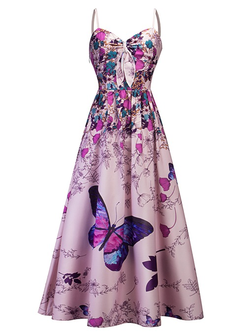 Print Floral High Waist Women's Day Dress