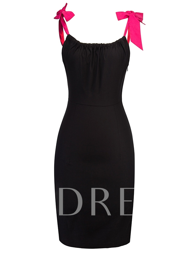 Image of Adjustable Shoulder Straps Black Womens Party Dress