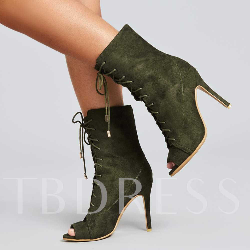 Army Green Ankle Boots Peep Toe Suede High Heel Shoes