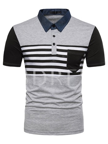 Lapel Stripe Leisure Slim Men's Polo