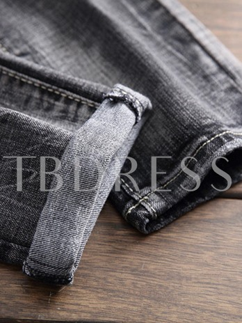 Hole Worn Straight Slim Men's Jeans
