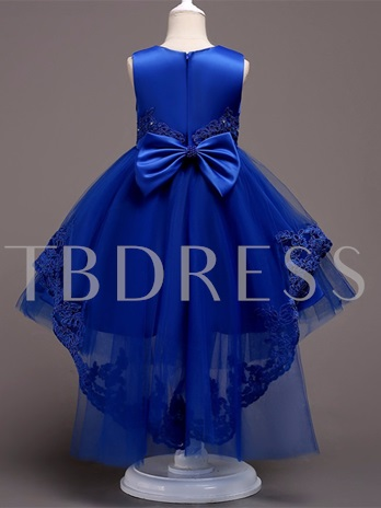 Appliques Ball Gown Girls Party Dress with Train