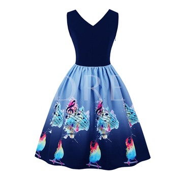 Sleeveless Side Zipper Printing Women's Day Dress